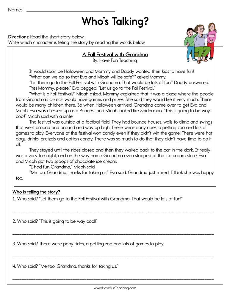 Who's Talking Worksheet | Have Fun Teaching