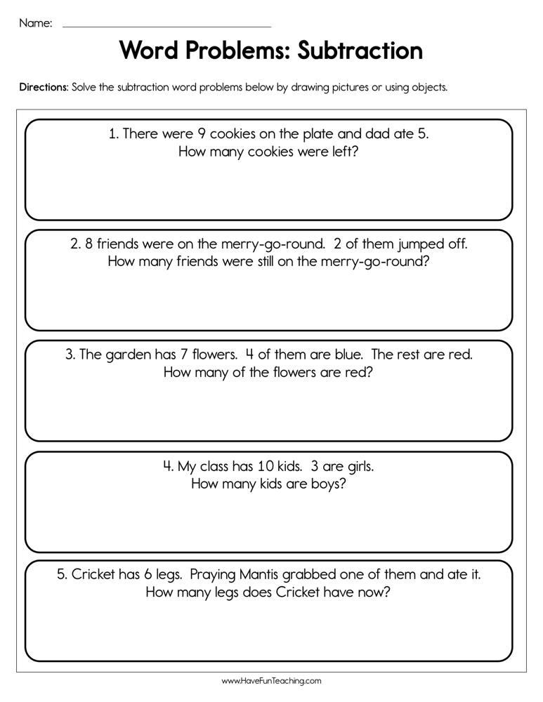 Word Problem Subtraction Worksheet | Have Fun Teaching