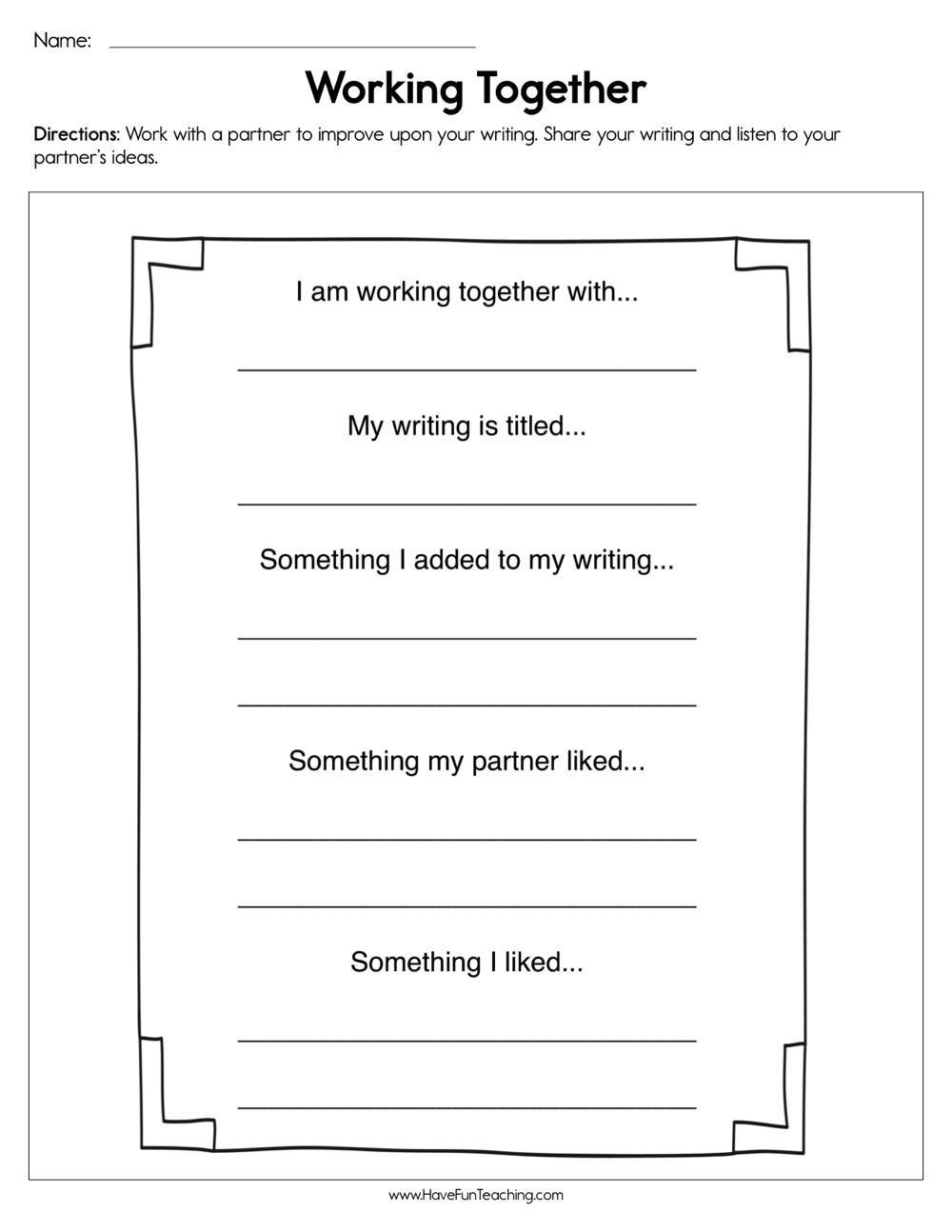 Working Together Worksheet