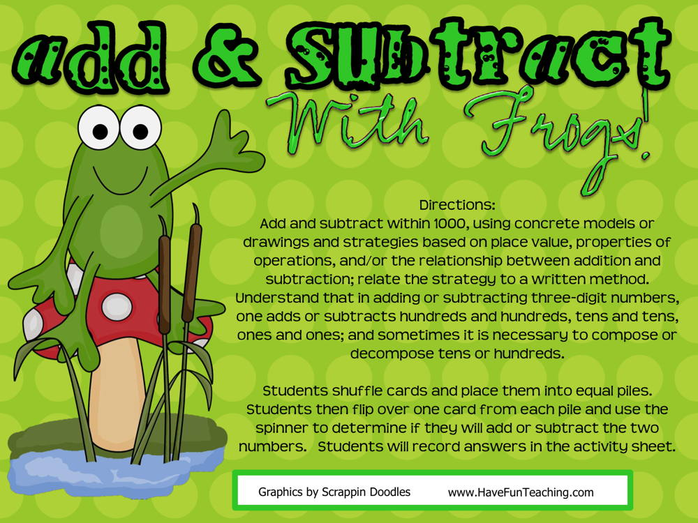 Add and Subtract with Frogs Activity