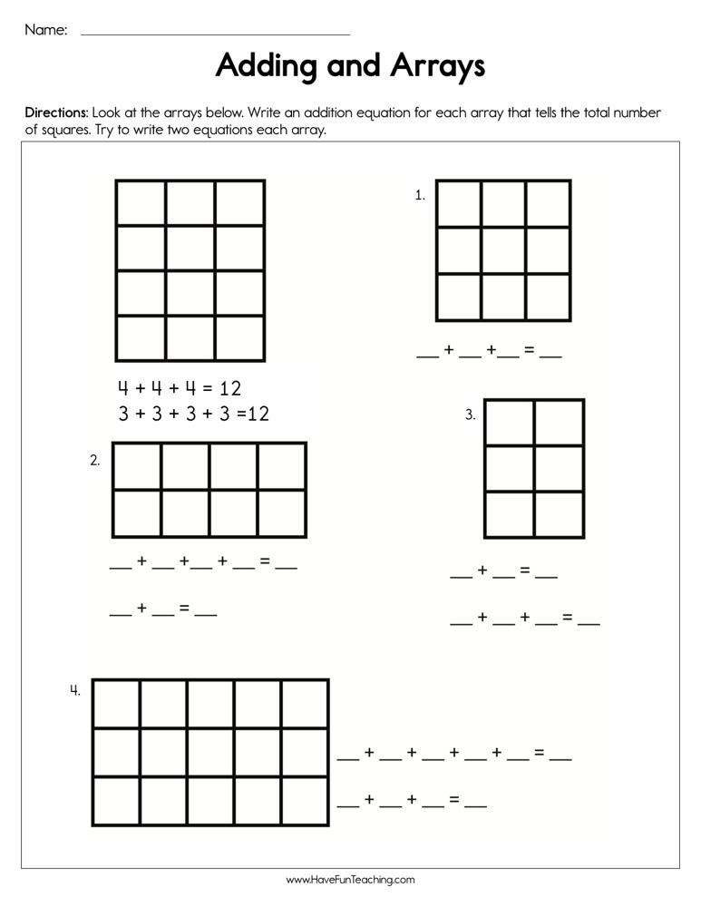 Adding and Arrays Worksheet | Have Fun Teaching