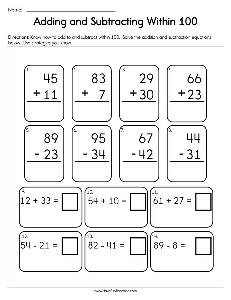 Adding and Subtracting Within 100 Worksheet