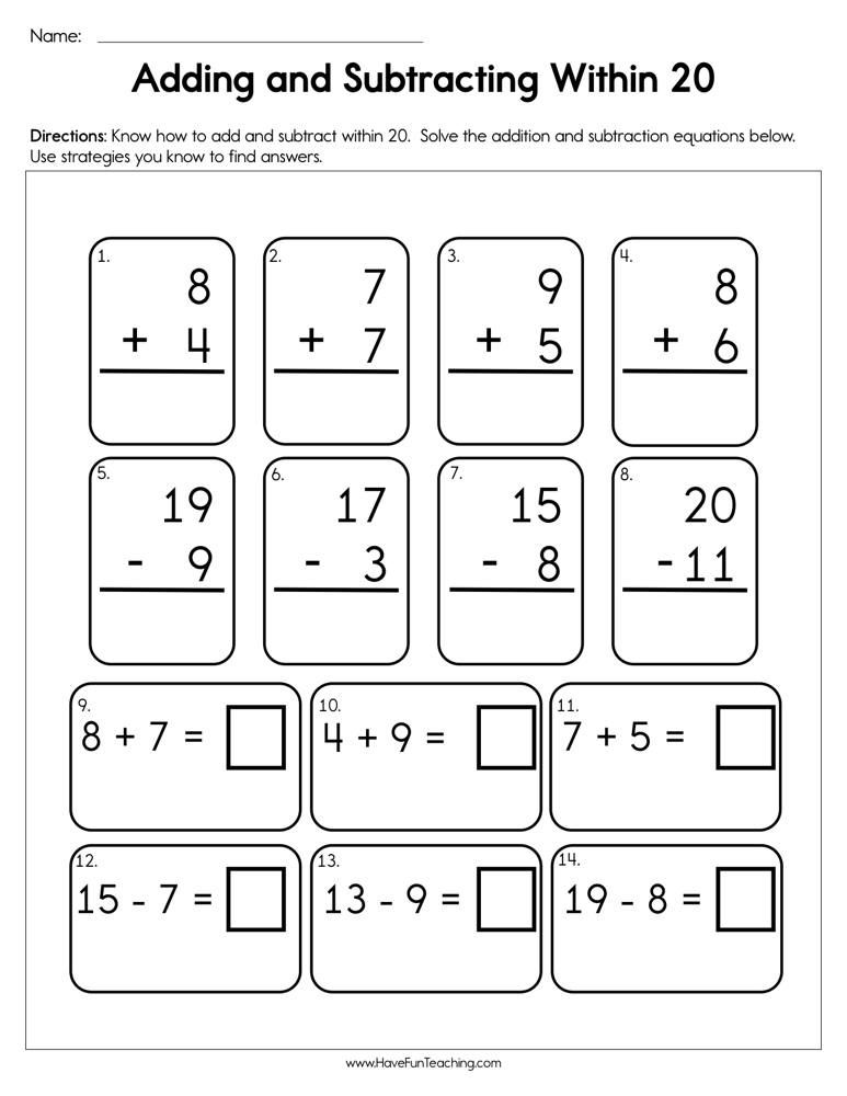 Adding and Subtracting Within 20 Worksheet • Have Fun Teaching