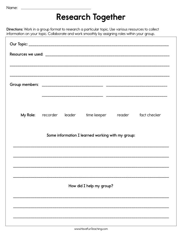 Group Researching Worksheet