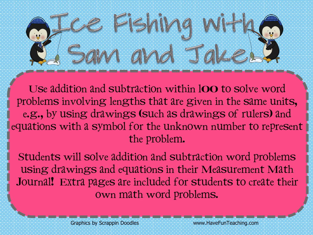 Ice Fishing Addition Subtraction Within 100 Activity