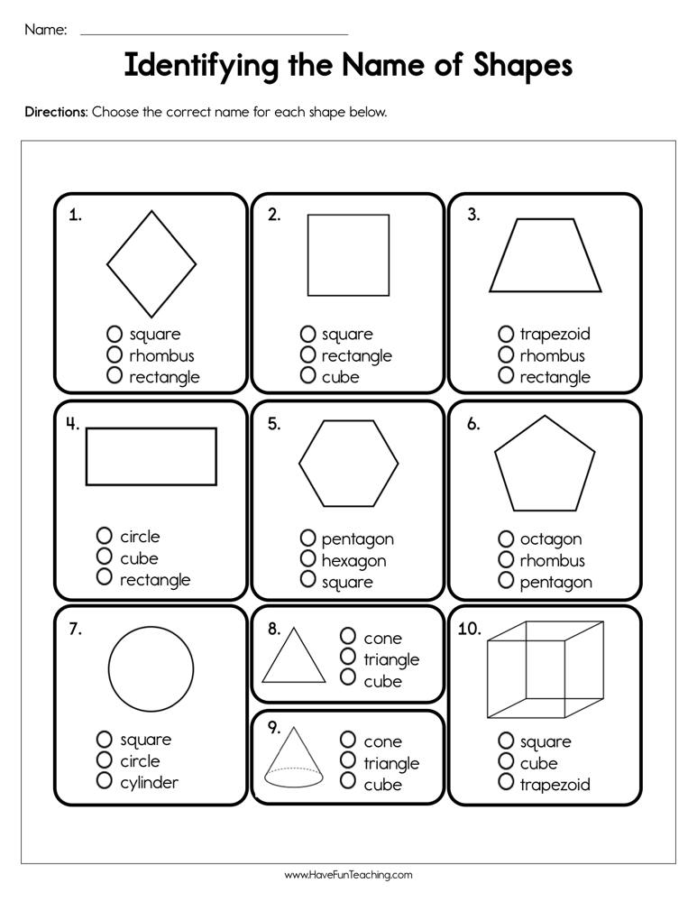identifying the name of shapes worksheet have fun teaching. Black Bedroom Furniture Sets. Home Design Ideas