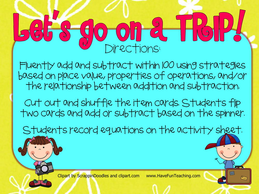Let's Go on a Trip Addition Subtraction Within 100 Activity