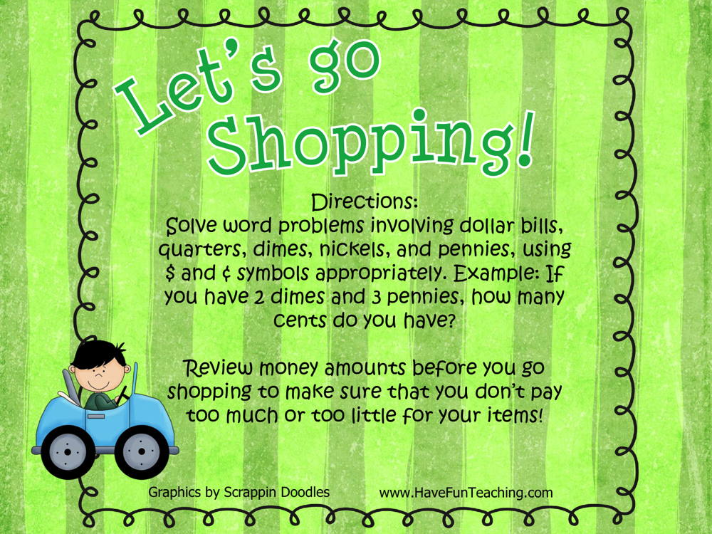 Let's Go Shopping Money Word Problems Activity