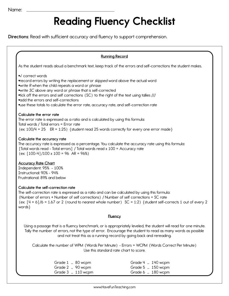 Reading Fluency Checklist Worksheet | Have Fun Teaching