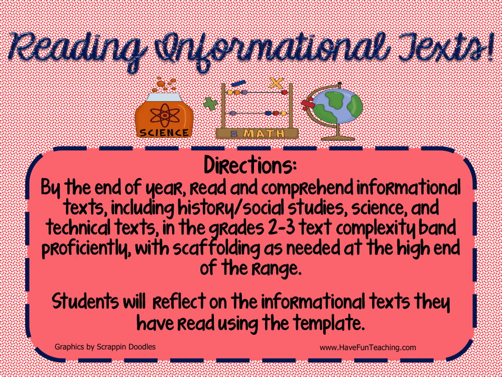 Reading Informational Texts Book Review Activity