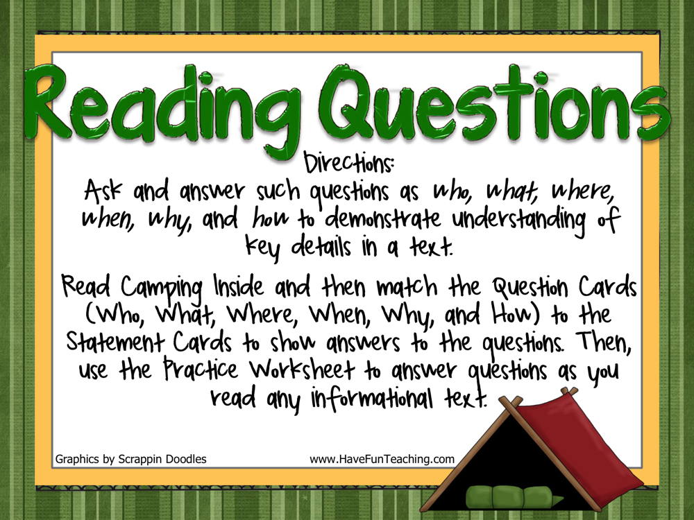 Reading Questions Camping Activity