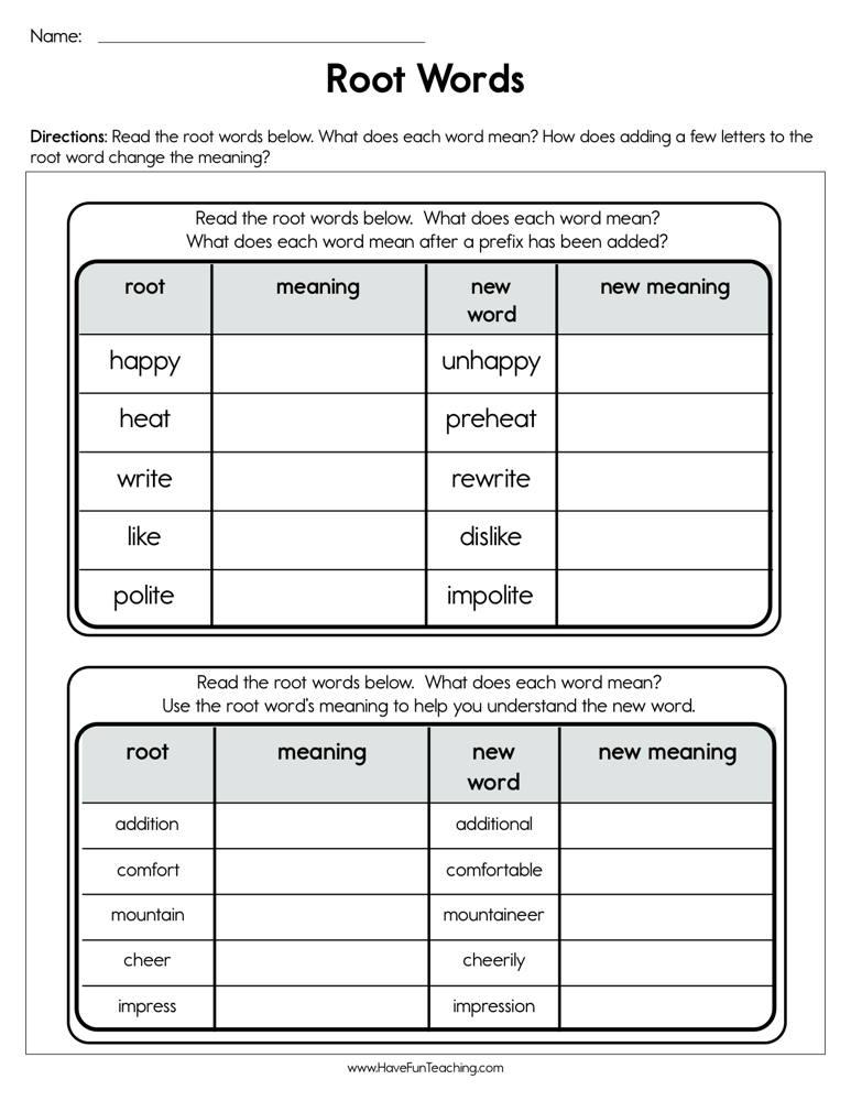 Root Words Worksheet | Have Fun Teaching