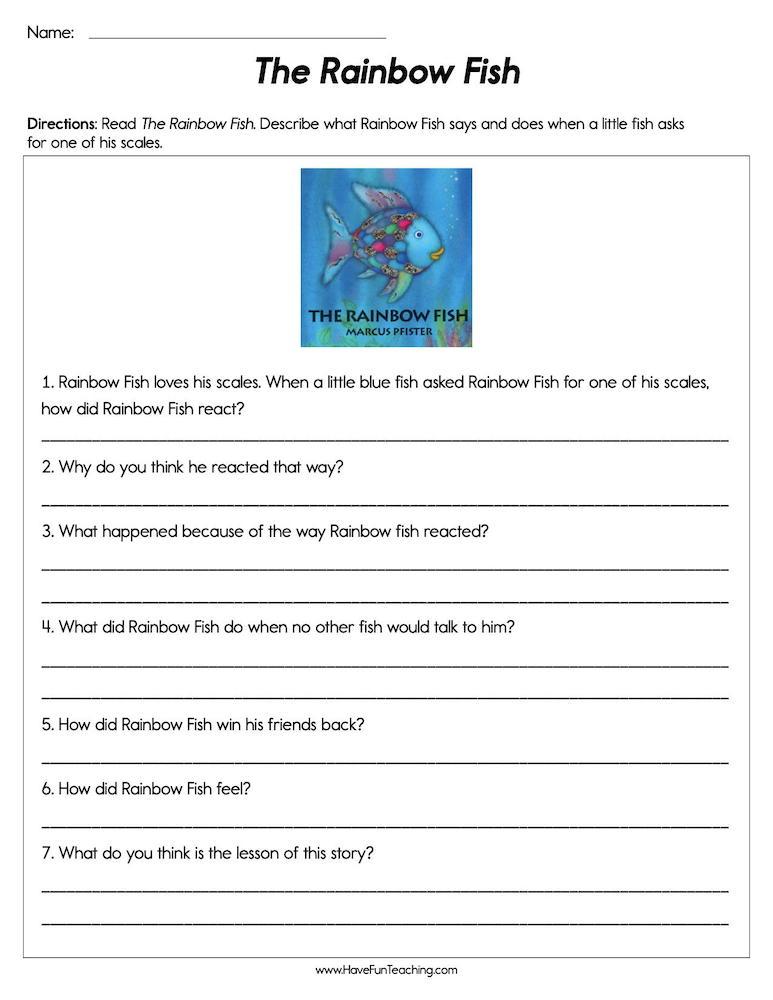 The Rainbow Fish Worksheet Have Fun Teaching