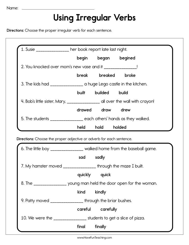 Verbs Worksheets | Have Fun Teaching