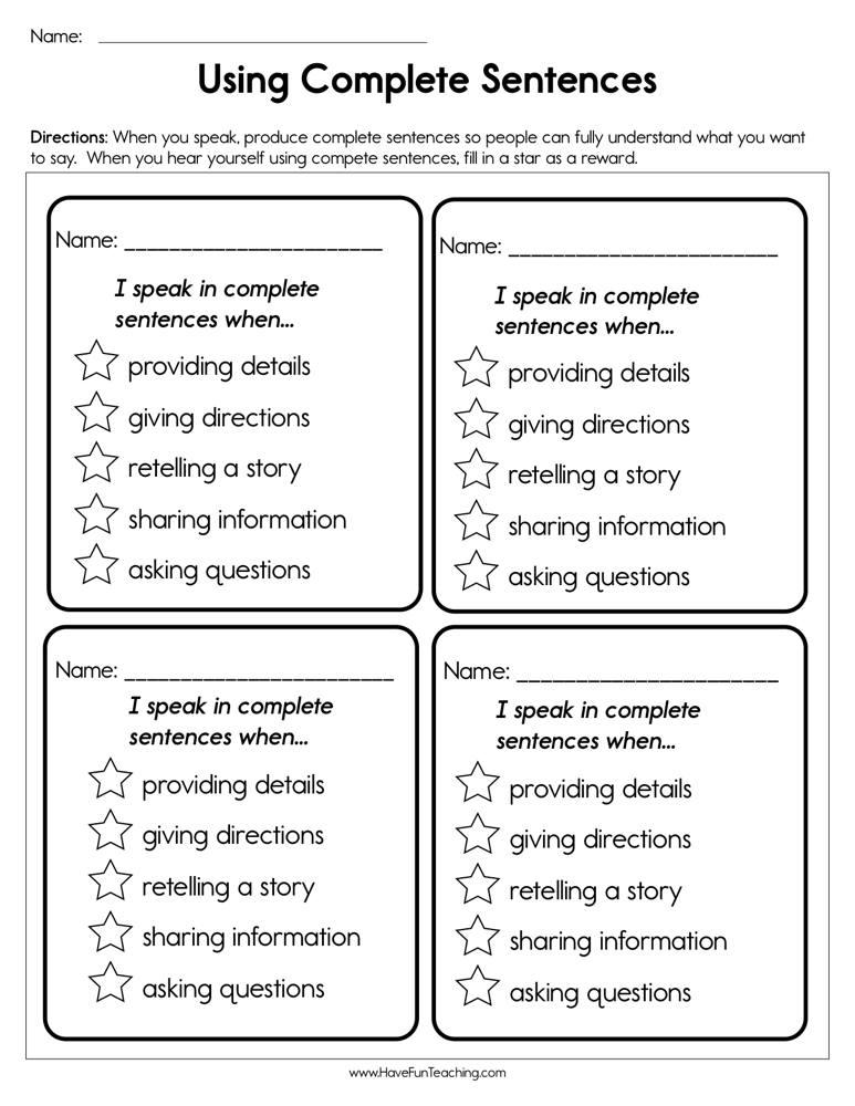 Using Complete Sentences Worksheet