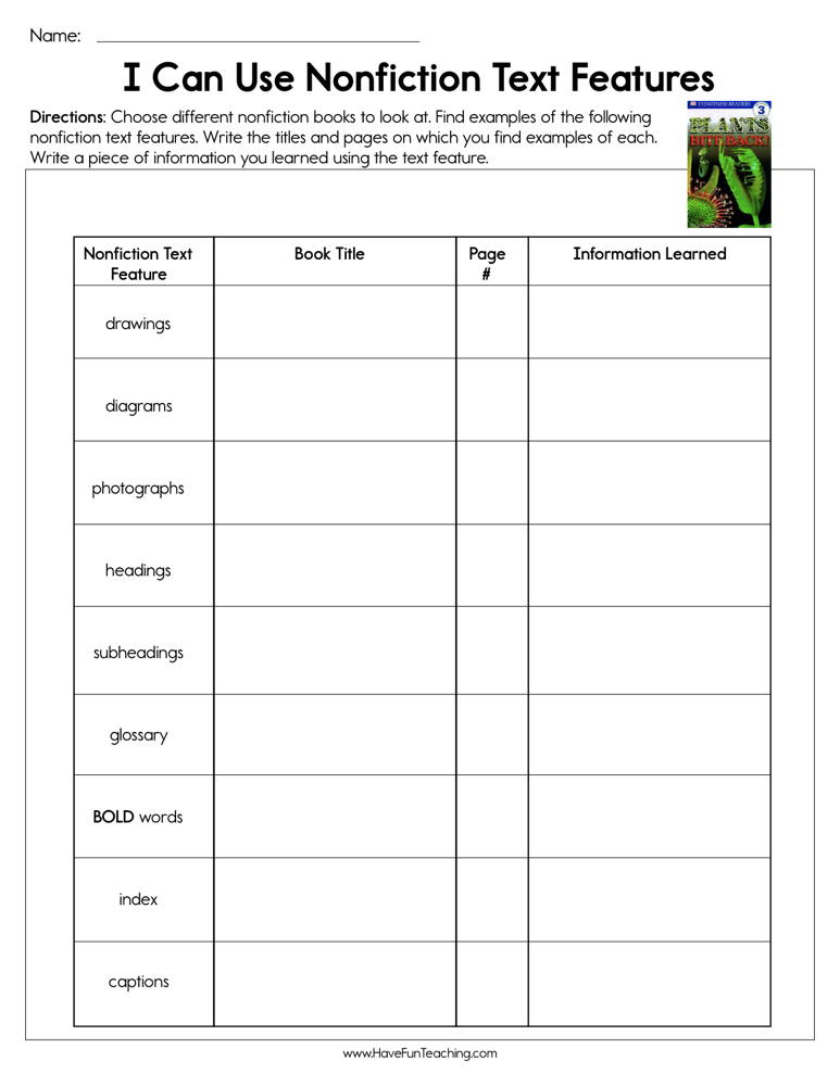 Using Non-Fiction Text Features Worksheet