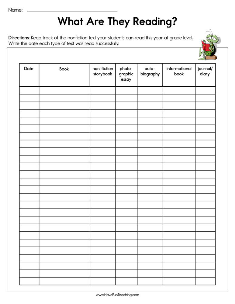 What Are They Reading Assessment Worksheet