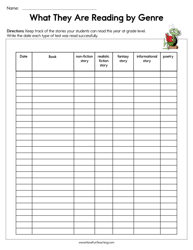 What Are They Reading by Genre Assessment Worksheet