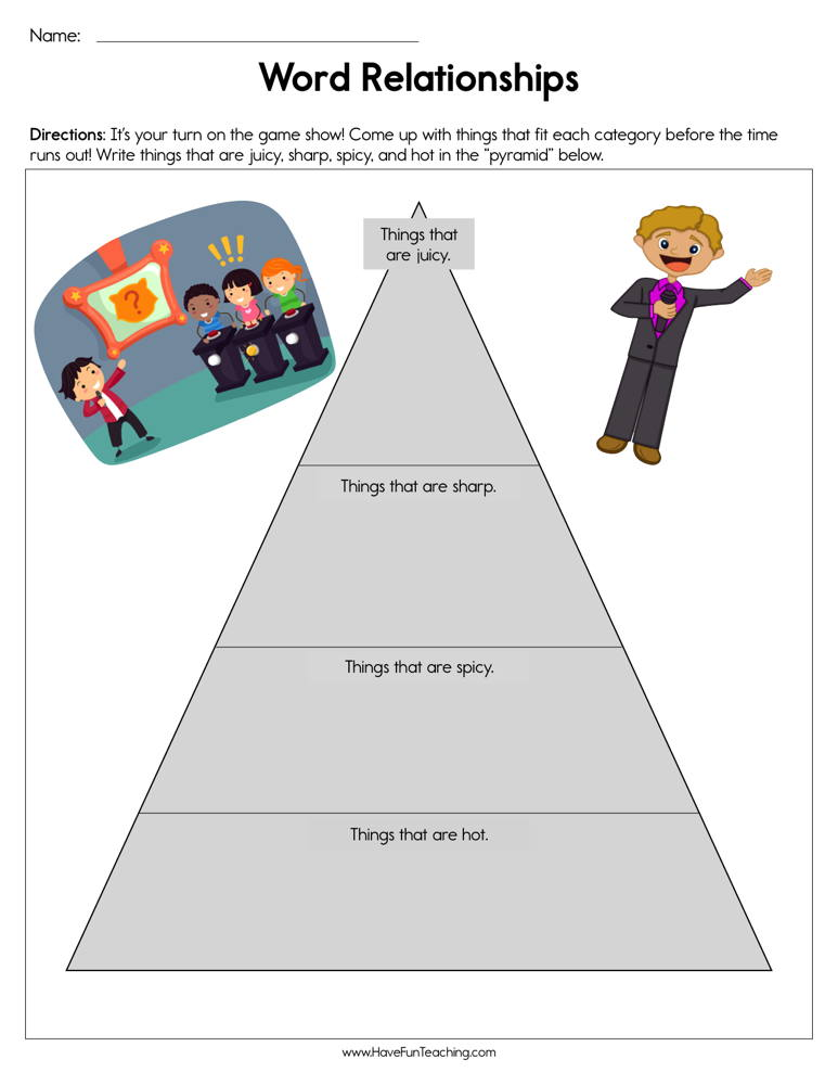 Word Relationships Worksheet