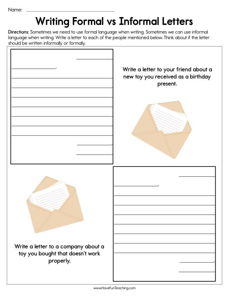 Writing Formal vs. Informal Letters Worksheet