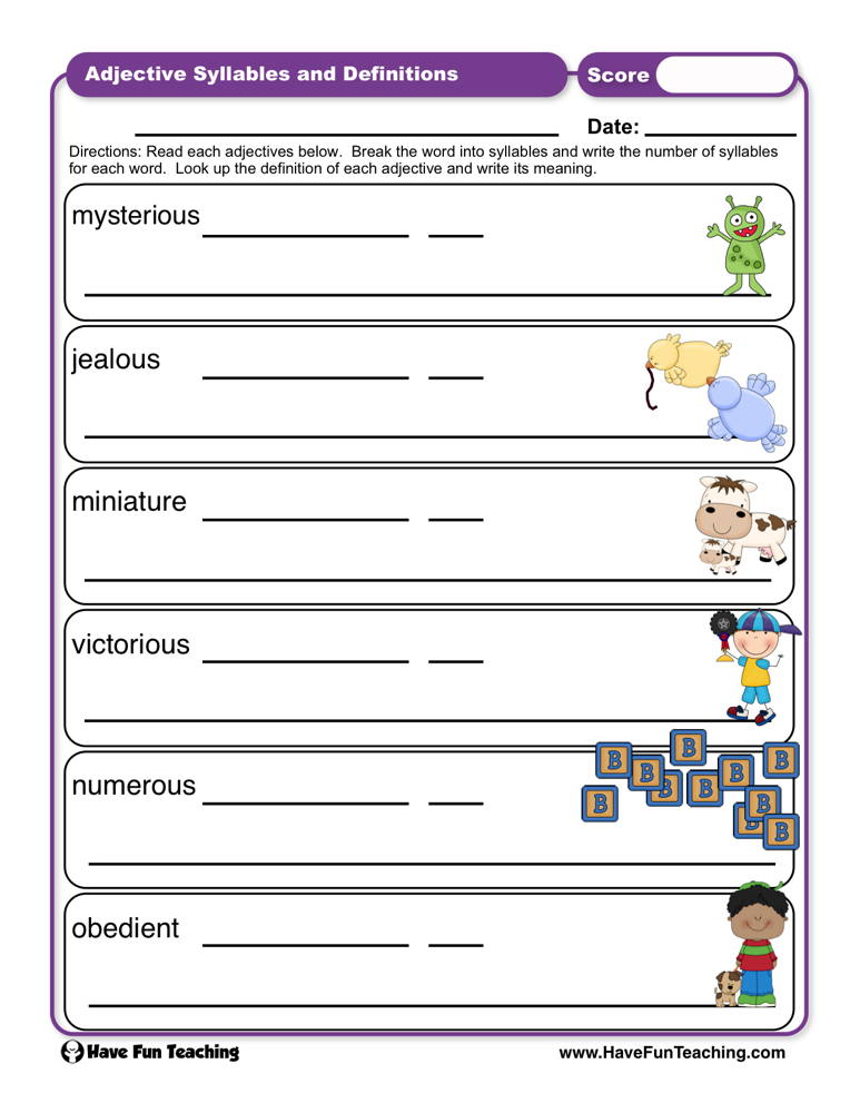 Adjectives Syllables and Definitions Worksheet | Have Fun Teaching