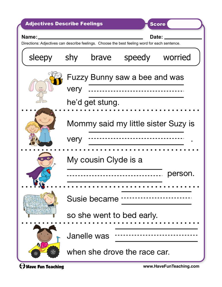 Adjectives Describe Feelings Worksheet | Have Fun Teaching