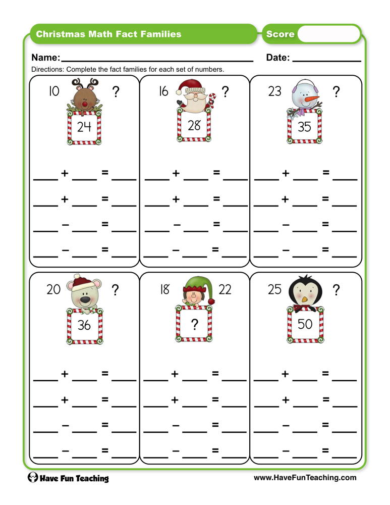 Christmas Math Fact Families Worksheet | Have Fun Teaching