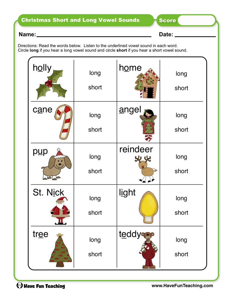 Christmas Short and Long Vowel Sounds Worksheet