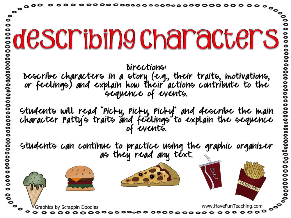 Describing Characters Beginning Middle and End Activity