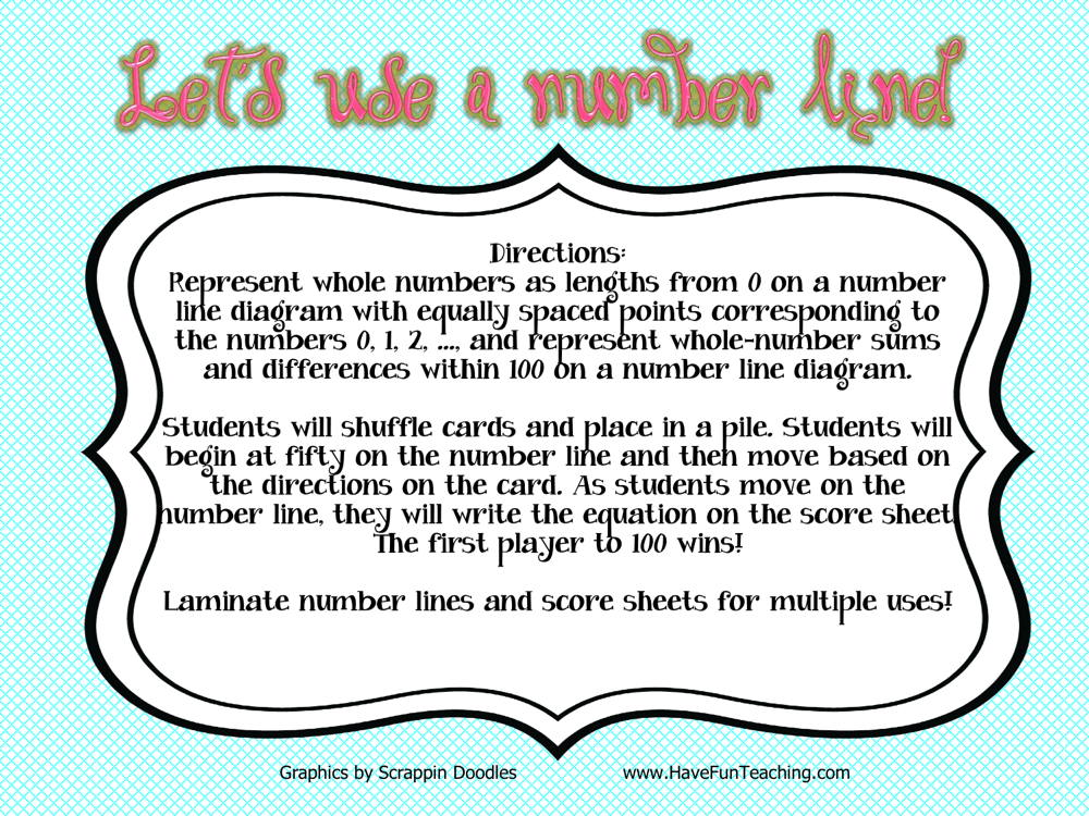 Let's Use a Number Line Activity