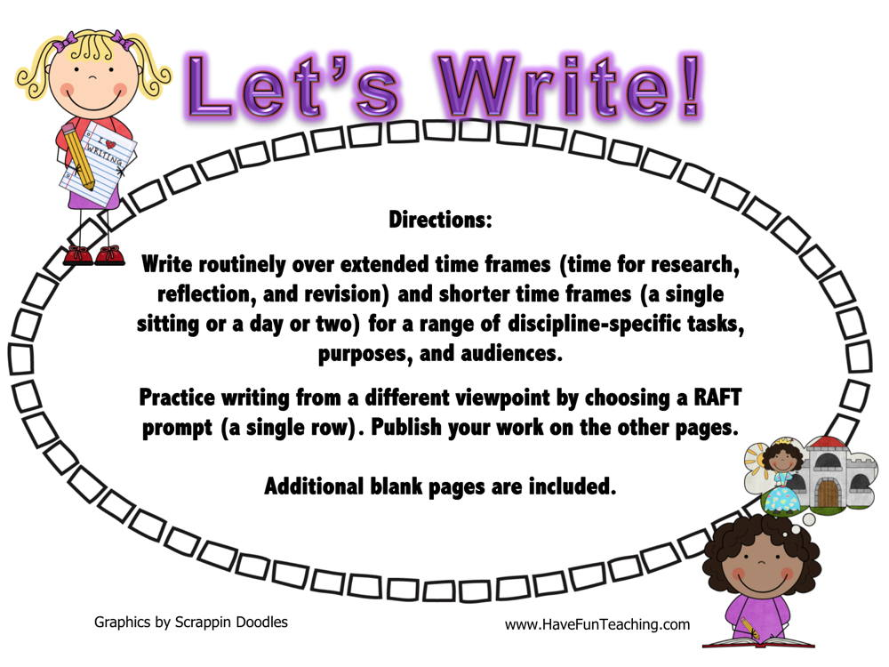 Let's Write RAFT Writing Activity