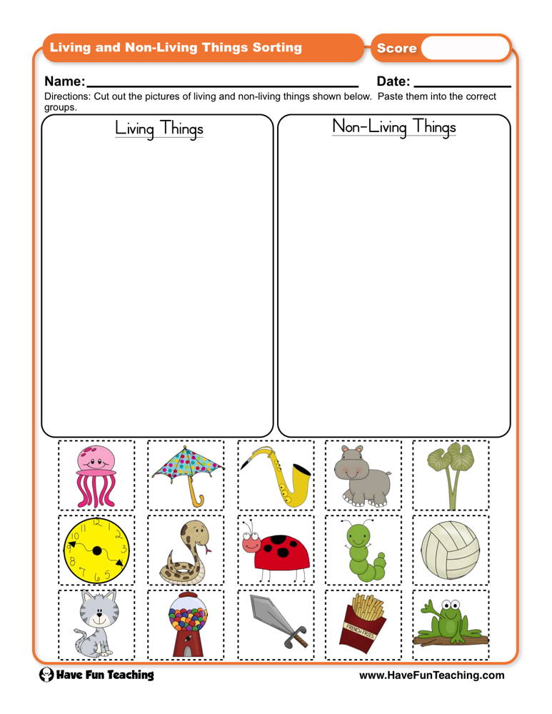 living things and non living things sorting worksheet have fun teaching. Black Bedroom Furniture Sets. Home Design Ideas