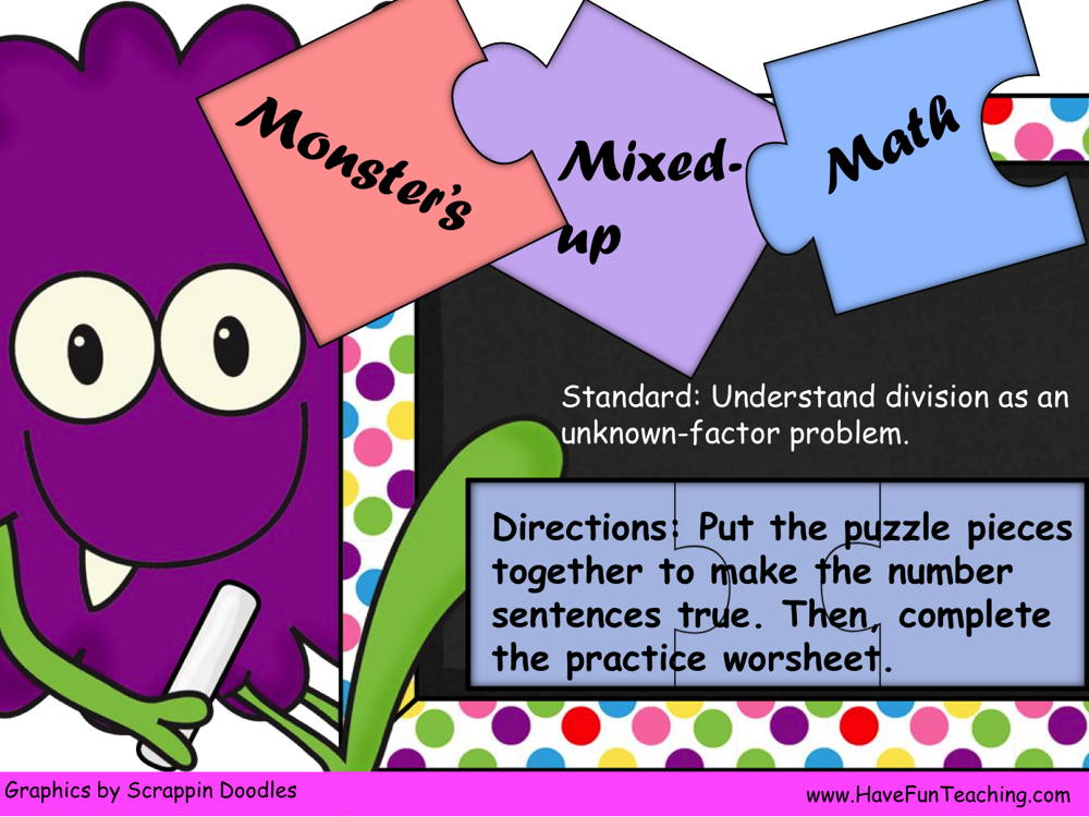 Monsters Mixed Up Math Unknown Factors Puzzle Activity