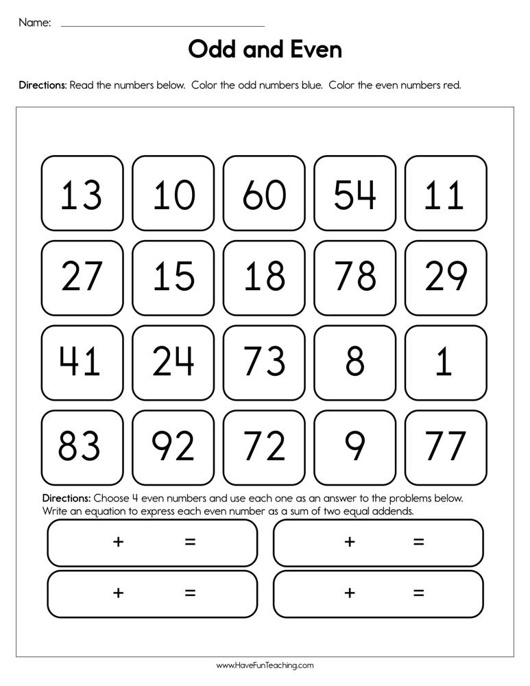 Odd and Even Worksheet | Have Fun Teaching
