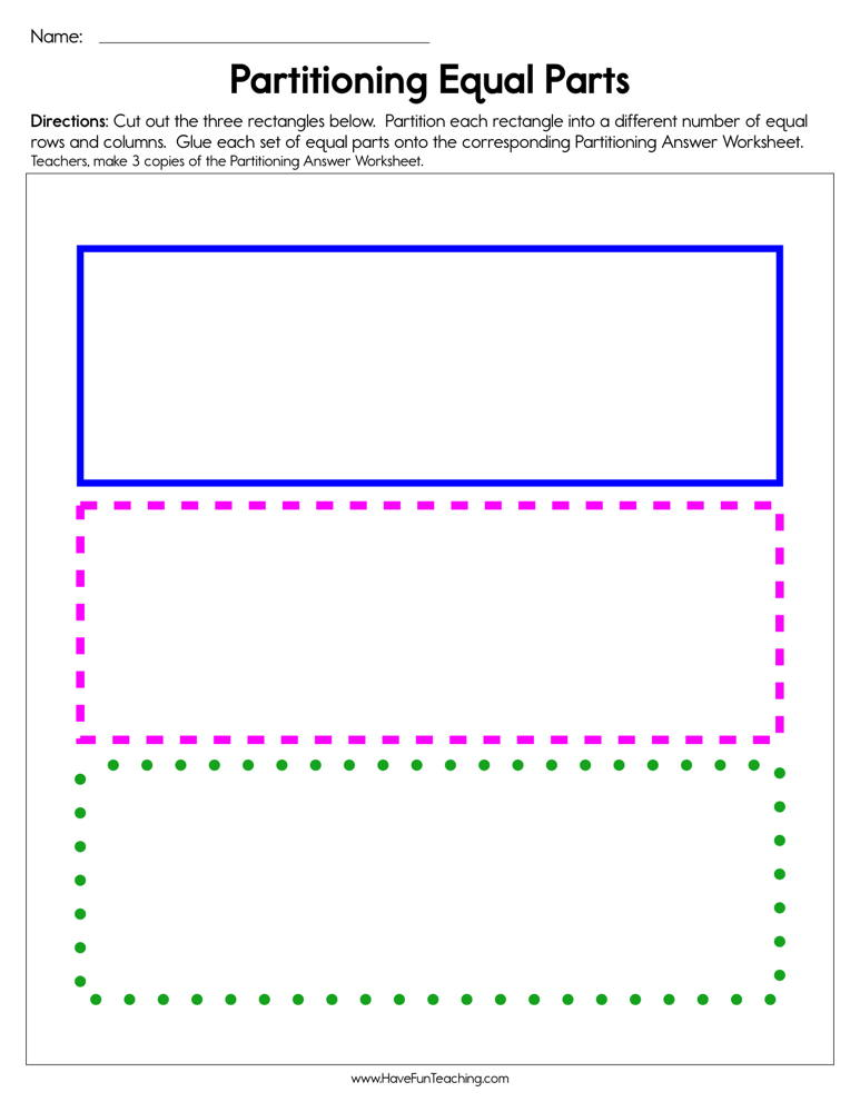 Partitioning Equal Parts Worksheet Have Fun Teaching