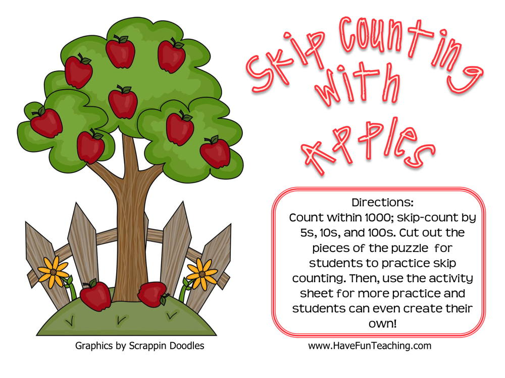 Skip Counting With Apples 5 10 100 Activity
