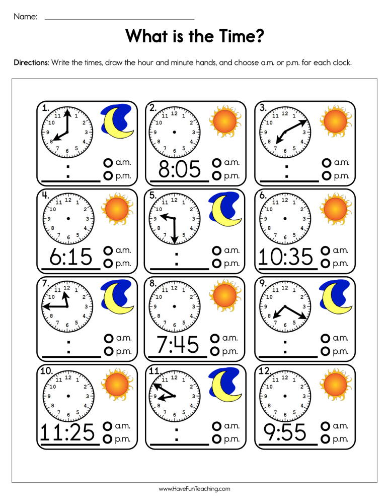 What Is The Time Worksheet | Have Fun Teaching