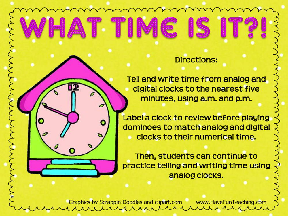 What Time Is It to 5 Minutes Activity