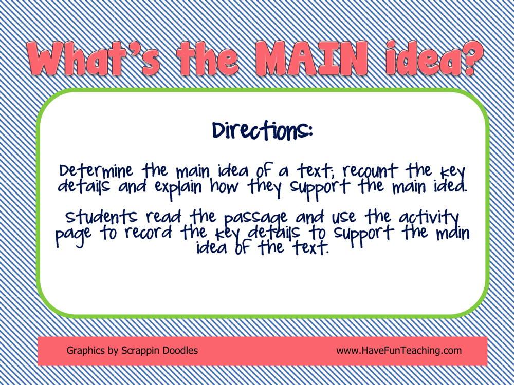 What's the Main Idea Activity