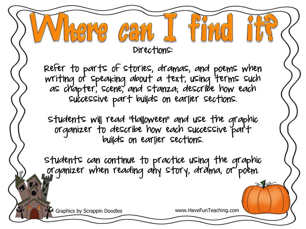 Where Can I Find It Halloween Poetry Activity