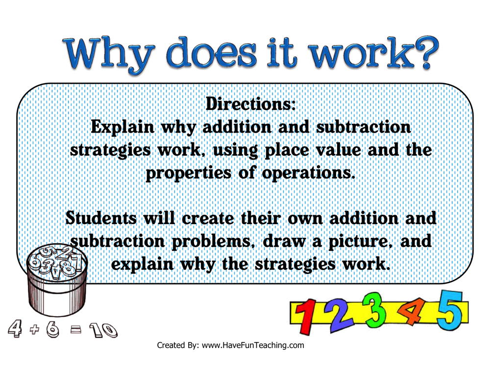 Why Does it Work Addition Subtraction Strategies Activity