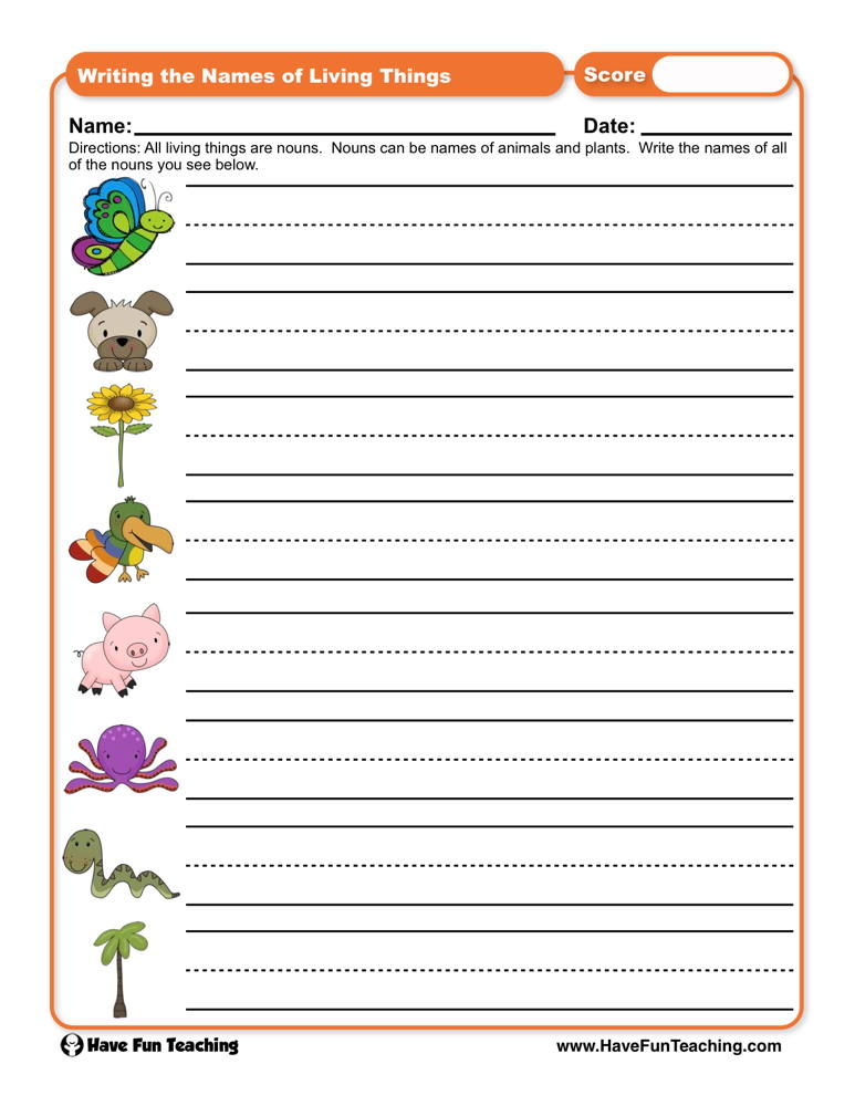 Writing The Names Of Living Things Worksheet Have Fun