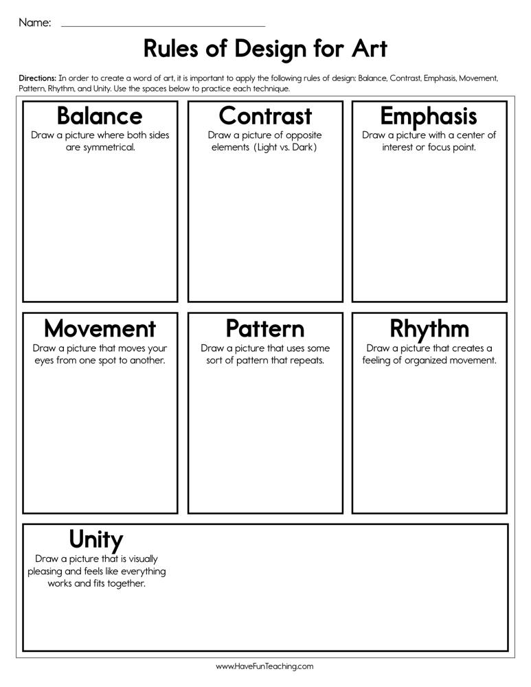 graphic relating to Worksheet Design known as Recommendations of Style for Artwork Worksheet Incorporate Enjoyment Instruction
