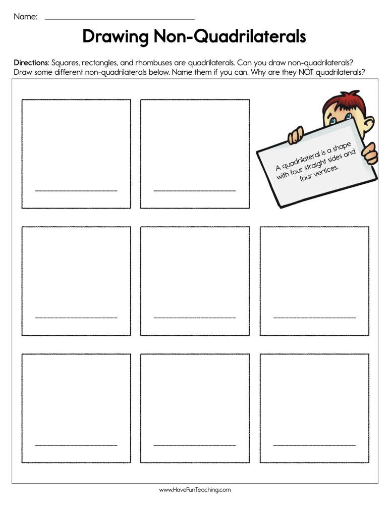 Drawing Non-Quadrilaterals Worksheet | Have Fun Teaching
