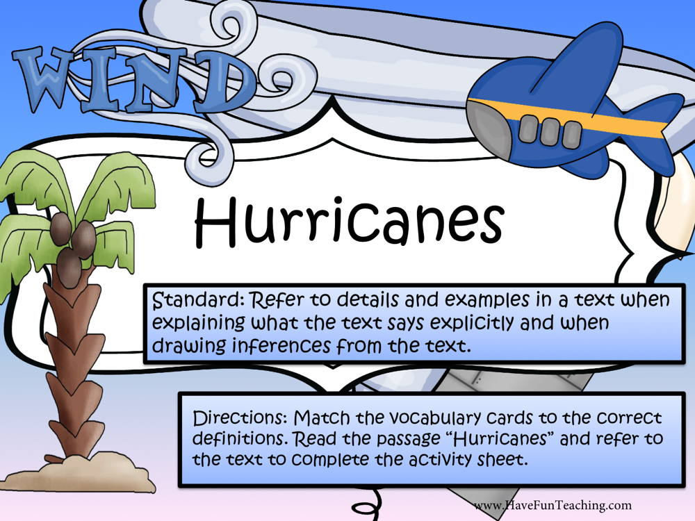Hurricanes Reading Comprehension Activity