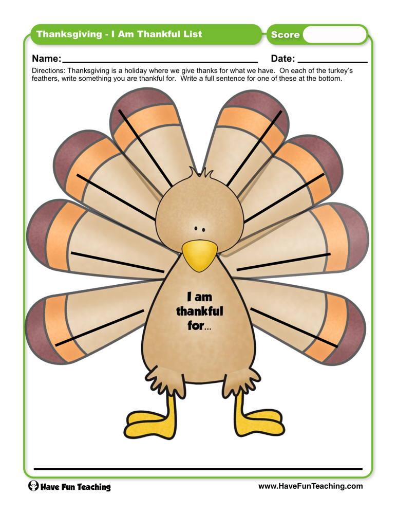 Thanksgiving I am Thankful List Worksheet