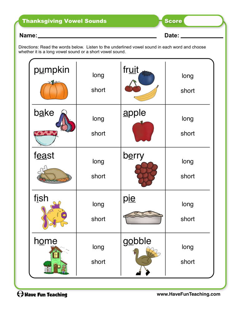 Thanksgiving Vowel Sounds Worksheet