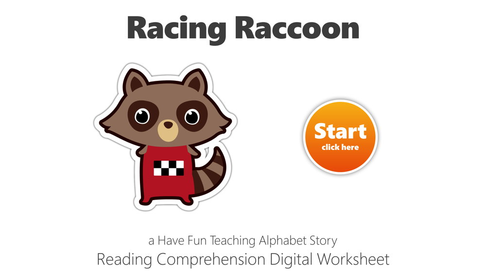 Letter R Racing Raccoon Reading Comprehension Digital Worksheet • Have Fun  Teaching