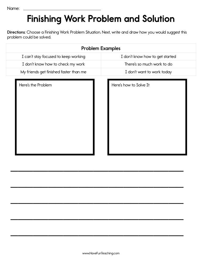 Finishing Work Problem Solution Worksheet • Have Fun Teaching